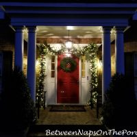 Christmas Porch, Lit Garland and Natural Christmas Wreath 4