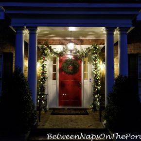 Christmas Porch, Lit Garland and Natural Christmas Wreath 4