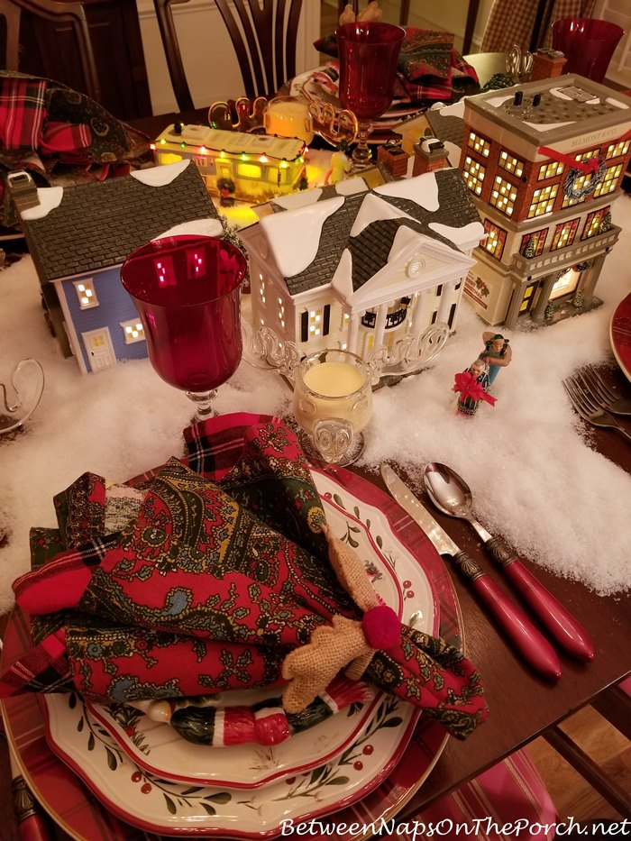 A Christmas Vacation Table Setting With Dept 56 Lit Houses