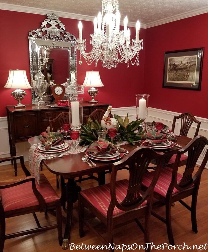 Christmas Table, Red Dining Room