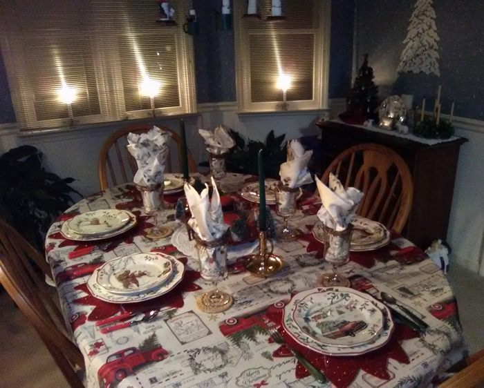 Christmas Table Set with Better Homes and Garden Christmas China, Red Truck Tablecloth