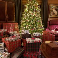 Christmas Tree & Plaid Wrapped Gifts
