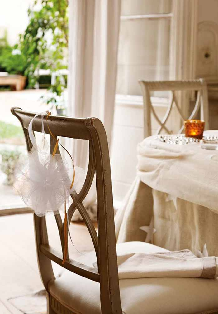 Decorate Back of Chair With Tulle