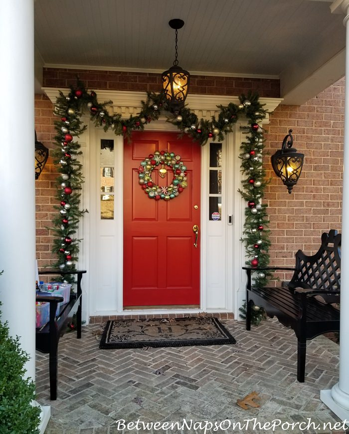 Decorating the porch for Christmas