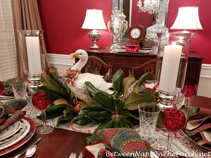 Goose Centerpiece for 12 Days of Christmas Table Setting