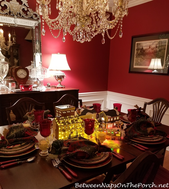 Red Dining Room with Christmas Table Setting, Dept. 56 Lit Centerpiece