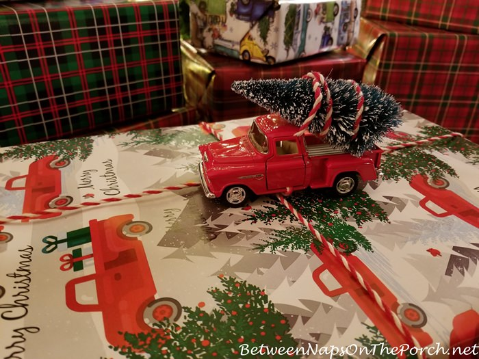 Red Truck Bringing Home Christmas Tree Wrapping Paper