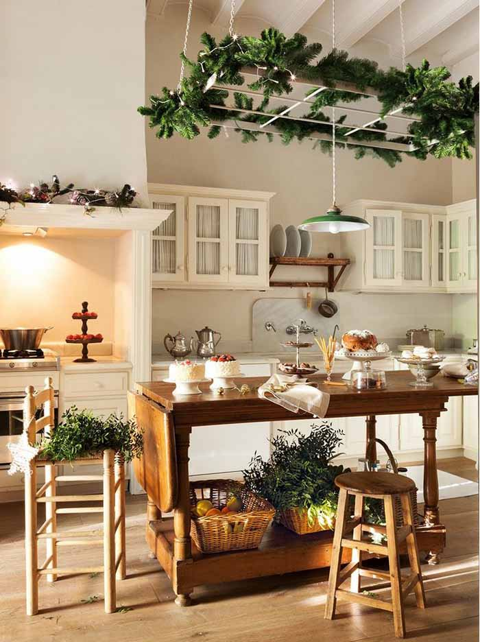 White Kitchen With Greenery For Christmas