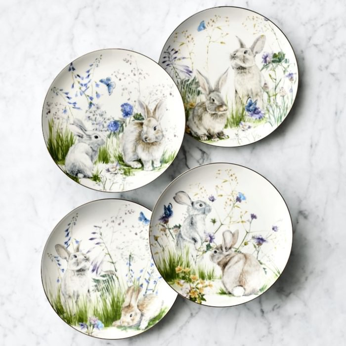 Adorable Floral Bunny Plates for Easter