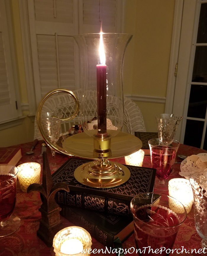 Candlelight Centerpiece with Books as Base