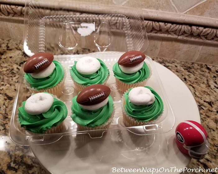 Football Decorated Cupcakes for Super Bowl Party