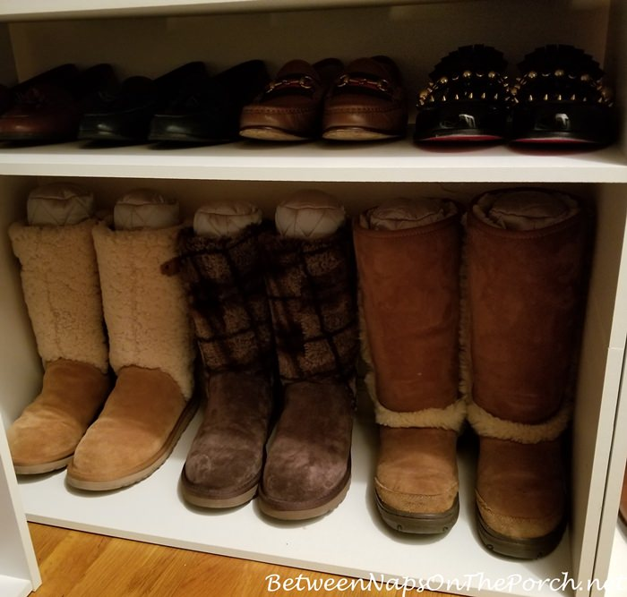 Keep Ugg Boots from Falling Over in Closet