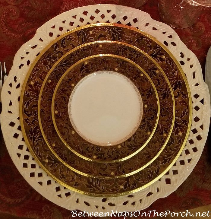 Noritake Xavier Gold China in Candlelight Winter Table Setting