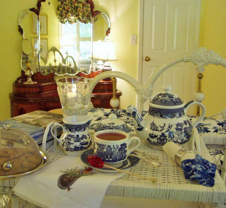 Tea in Blue and White Bedroom