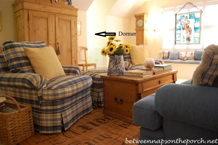 Upstairs Family Room With Window Seat and Dormer Windows