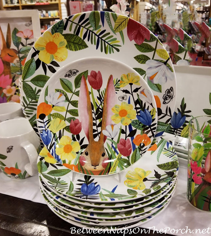 Bunny Floral plates for spring and Easter
