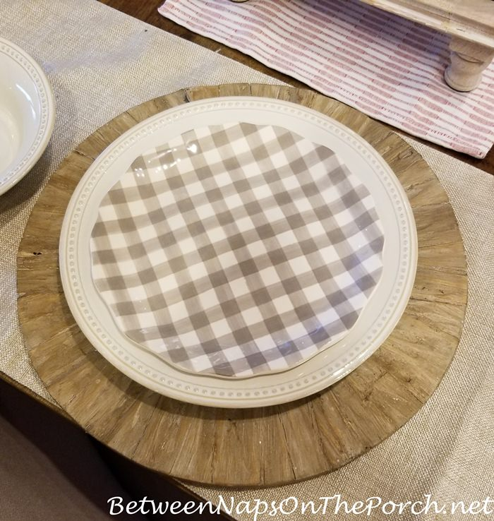 Gingham Plates, neutral creams and browns