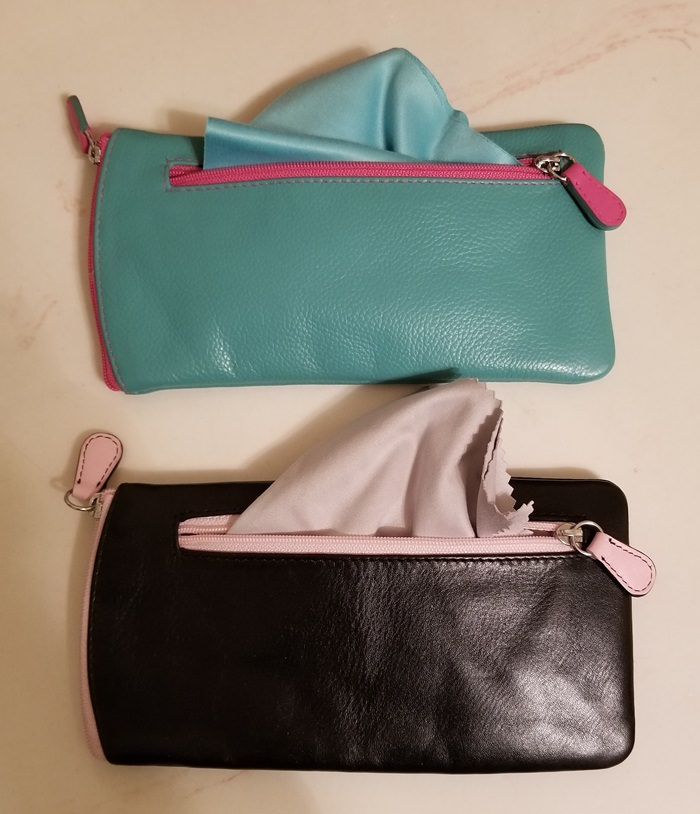 Leather Glass Case, has pocket for holding cleaning cloth