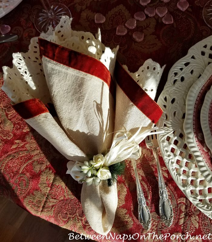 Red Velvet Edged Linen Napkins, Valentine's Day Tablescape