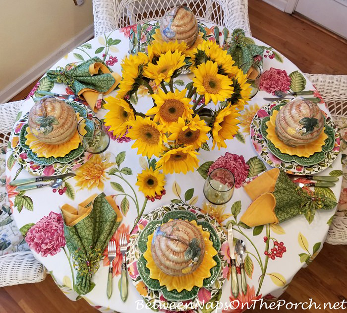 Spring Table Setting with a Sunflower Centerpiece