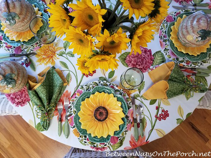 Sunflower Plates for a Spring Table