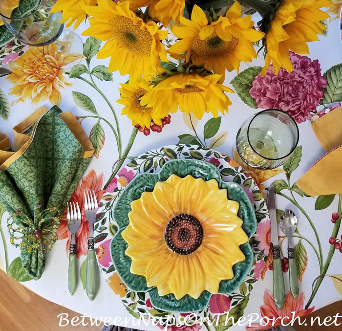 Sunflower Salad Plates, Green Cabbage Plates and Floral Chargers