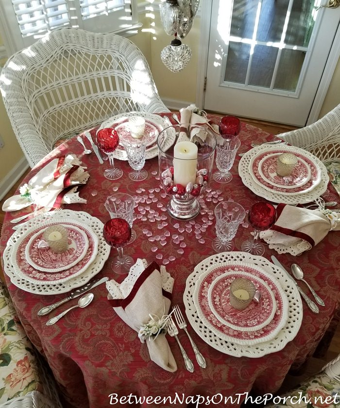 Valentine's Day, Red and White Tablescape