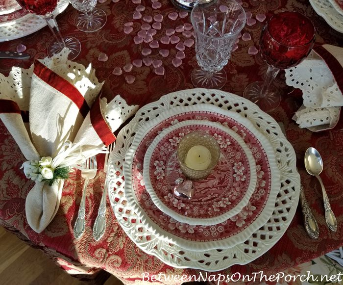 Vintage Spode Copeland in Valentine's Day Tablescape