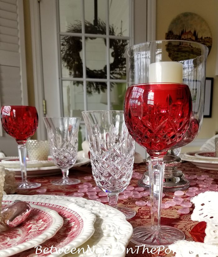Waterford Stemware, Araglin and Lismore, Valentine's Day Table