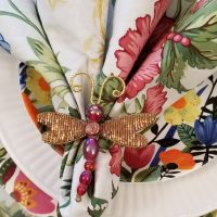 Beaded Dragonfly Napkin Rings for a Spring Tablescape
