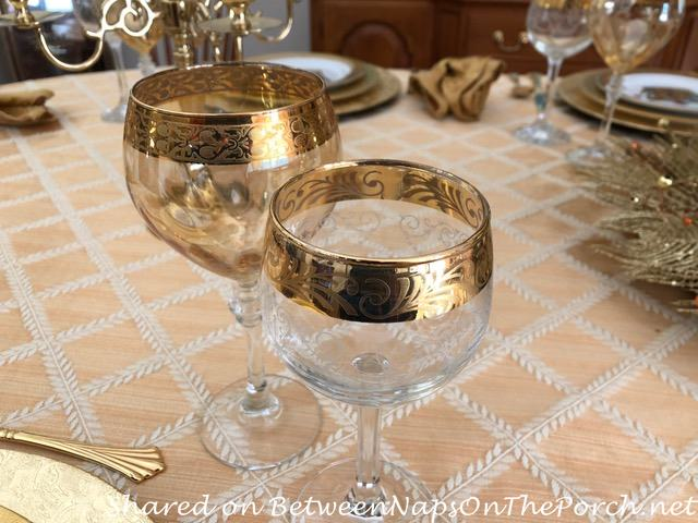 Beautiful Gold-Rimmed Wine Glasses