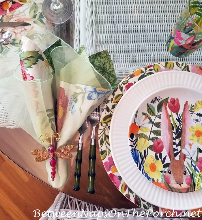 Bunny Floral Plates, Dragonfly Napkin Rings, Floral Charger Plates