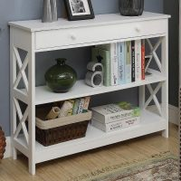 Console Table, Book Shelves with Drawer