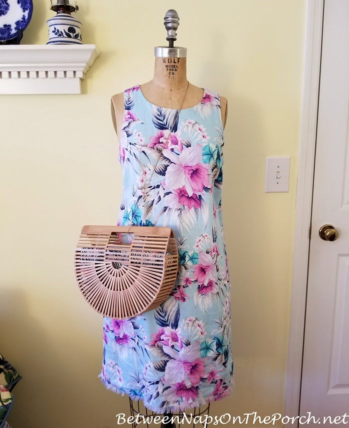 Cult Gaia Style Arc Bag with Floral Shift Dress by Tommy Bahama