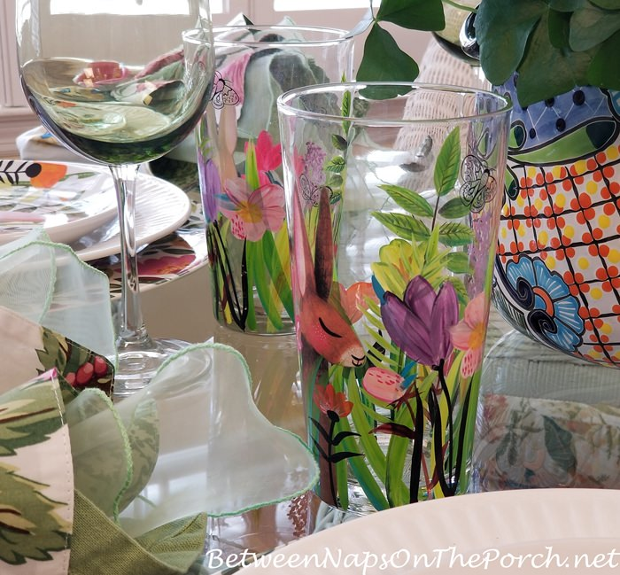 Floral Bunny Glasses for Easter or Spring