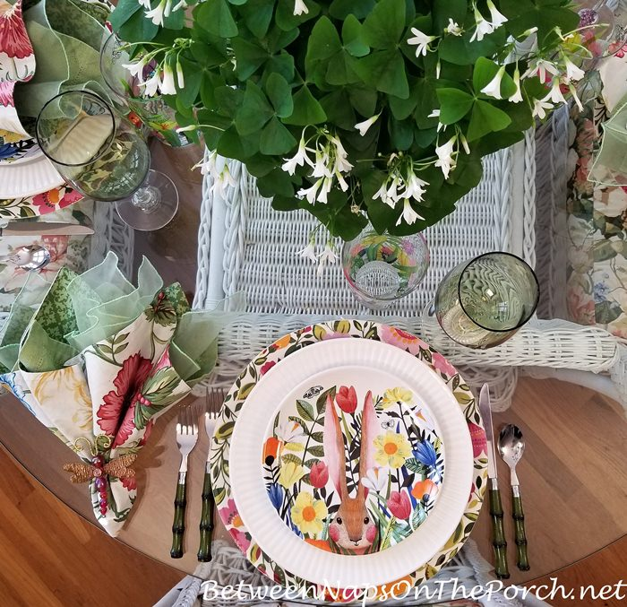 Floral Charger Plates, Floral Bunny Salad Plates, Spring Table