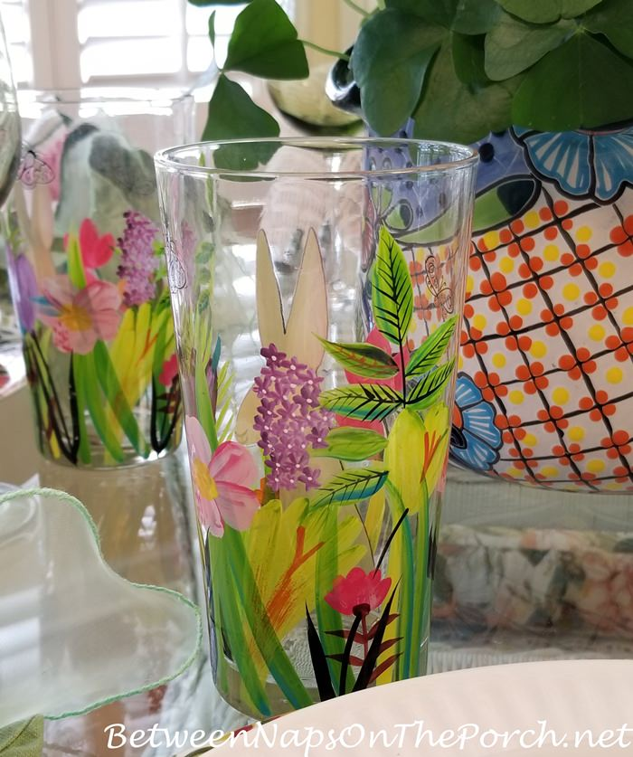 Floral Glasses for Spring Garden Party