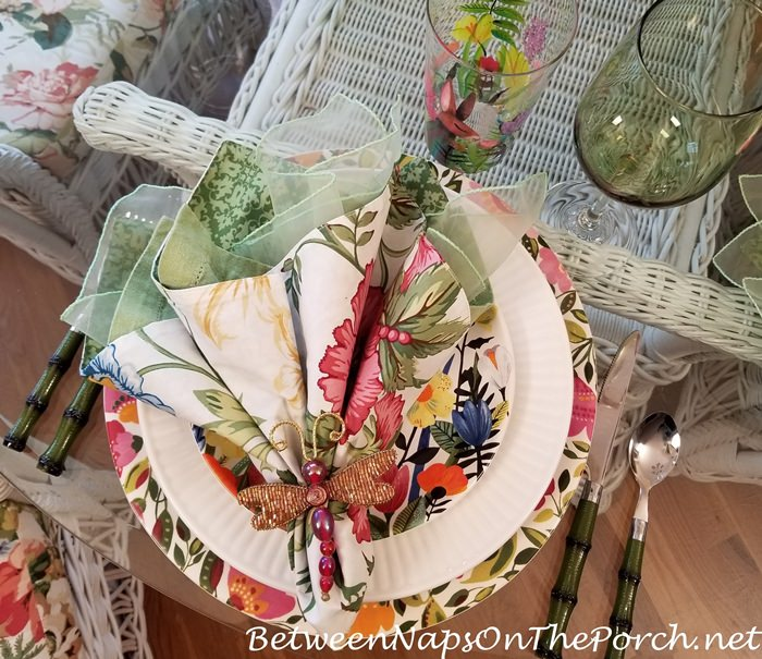 Garden Party Table Setting with Floral Plates, Chargers and Napkins