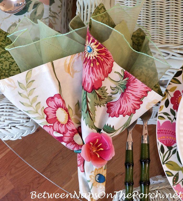 Green Bamboo Flatware, Floral Napkin & Napkin Ring