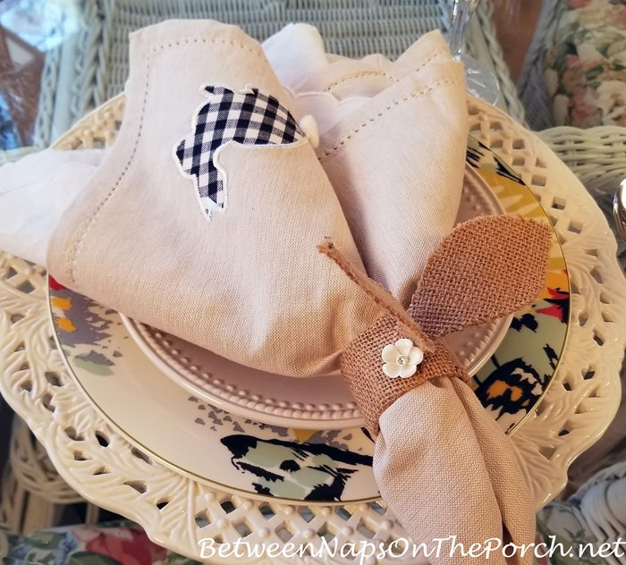 Make Burlap Bunny Napkin Rings for Spring or Easter Table Setting