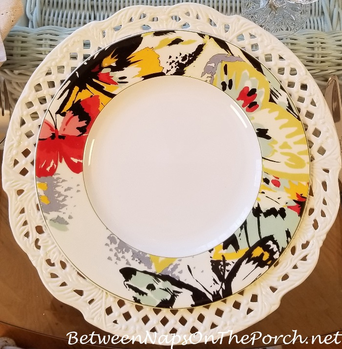 Mikasa Modern Butterfly Dinner Plates, Pierced Chargers