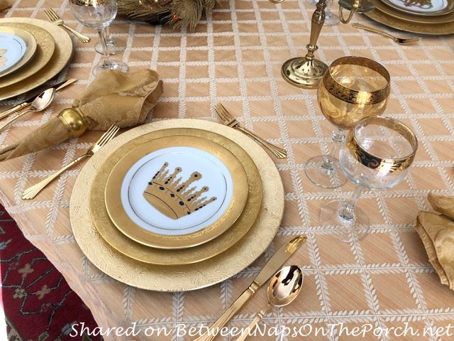 Setting the table in a Gold Theme with Gold Dinnerware & Gold Flatware