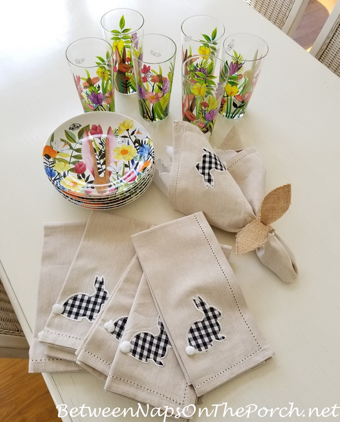 Shopping for spring and Easter Plates, Napkins, Glasses