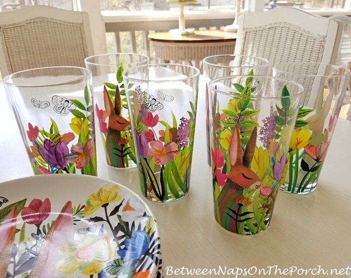 Spring Dishware Sale, Bunny Glasses, Spring Plates