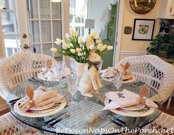 Spring Table, Bunny-Tulip Centerpiece