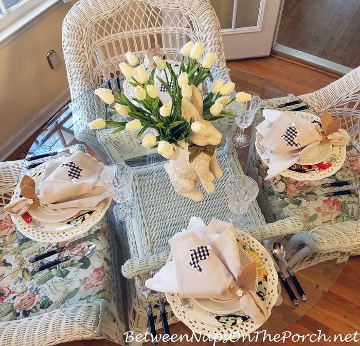 Spring Tablescape, Bunnies and Butterflies