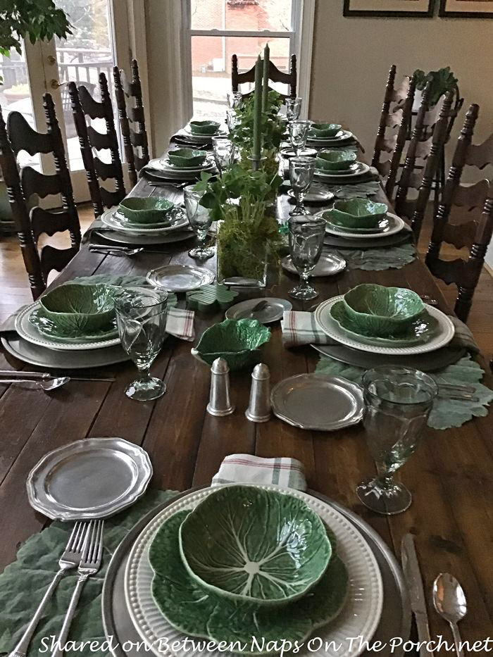 St. Patrick's Day Table in Green Cabbage Dinnerware