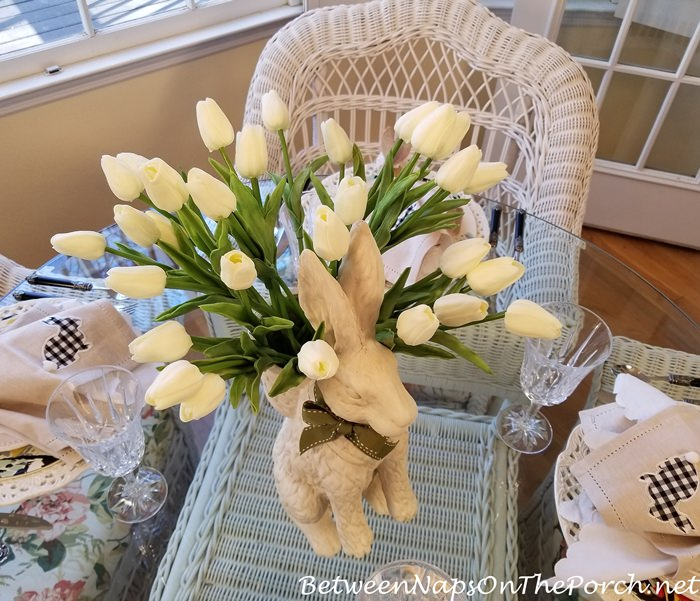 Tulips in Bunny Planter for a Spring Table Setting