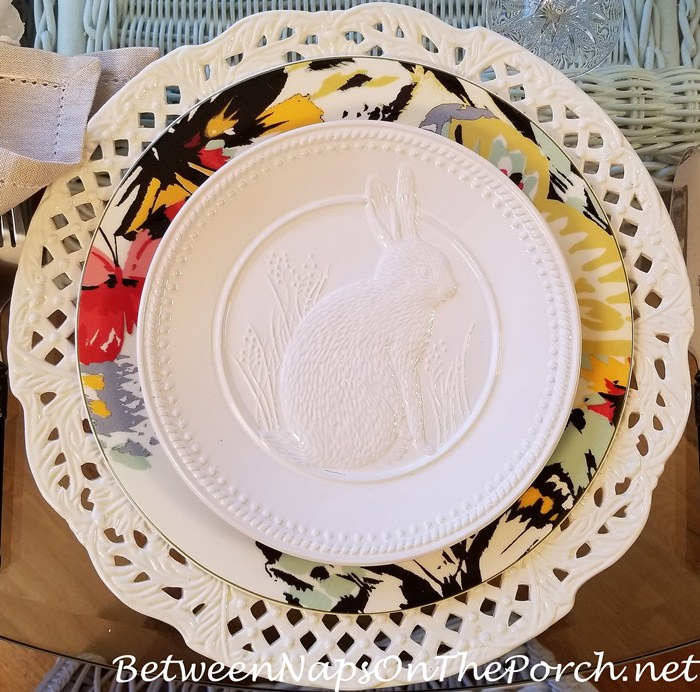 White Bunny Plates for Easter or Spring