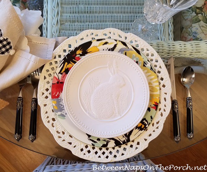 White Bunny Salad Plates for a Spring Table